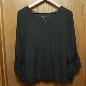 Black Top with Fun Sleeve Detail